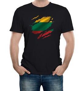 Torn Lithuania Men's Flag T-Shirt Lithuanian Vilnius Country national sport