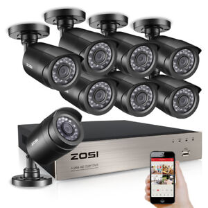 ZOSI HD 8CH 1080P DVR 720P Outdoor Home Surveillance Security Camera System 8 CH