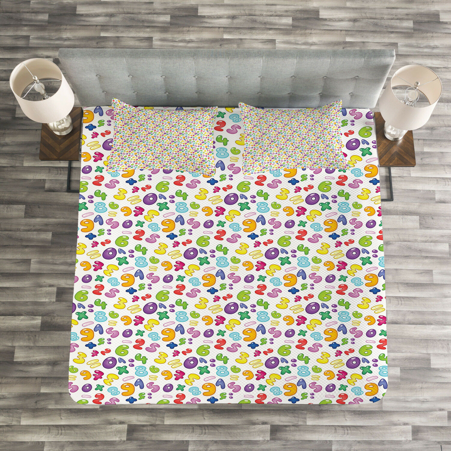 Numbers Quilted Bedspread & Pillow Shams Set, colorful Bubble Style Print