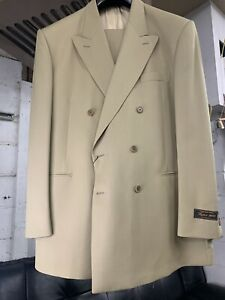 New-46L-Double-Breasted-Men-039-s-Beige-Suit-100-Wool-Made-in-Italy-Ret-1295