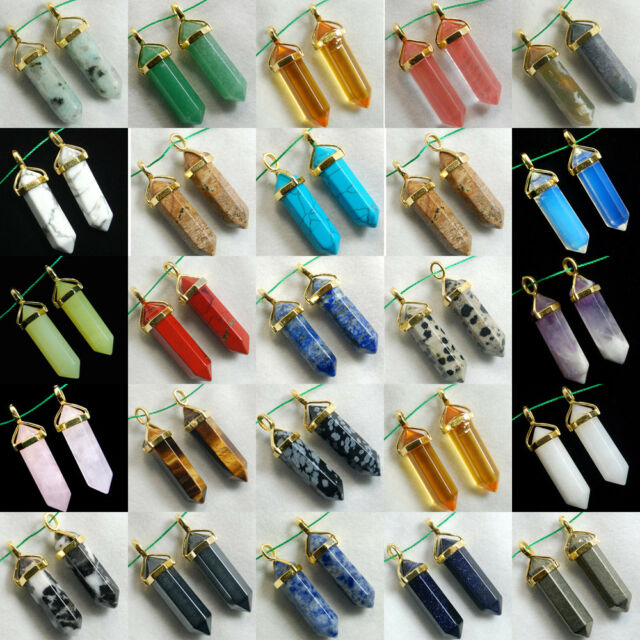 Natural Gemstones Hexagonal Pointed Reiki Chakra Pendant For Necklace Earrings