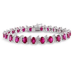 Amour Silver Created Ruby and Diamond Bracelet with Bonus Handbag