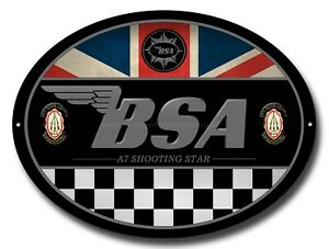 BSA A7 SHOOTING STAR OVAL METAL SIGN.OFFICIALLY LICENSED B.S.A PRODUCT. &™ BSA