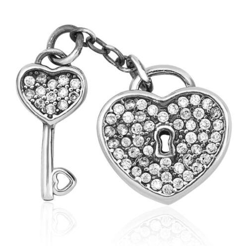 925 Silver Sterling Lock of Love Key pendant Charm Fits European Brand bracelet