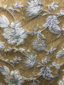 GOLD-BEIGE-FLORAL-CHENILLE-UPHOLSTERY-FABRIC-54-in-Sold-By-The-Yard