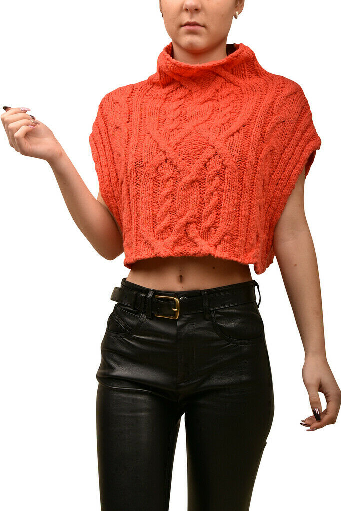 Free People damen Frosted Cable OB857909 Top Relaxed TRUE Coral rot Größe XS