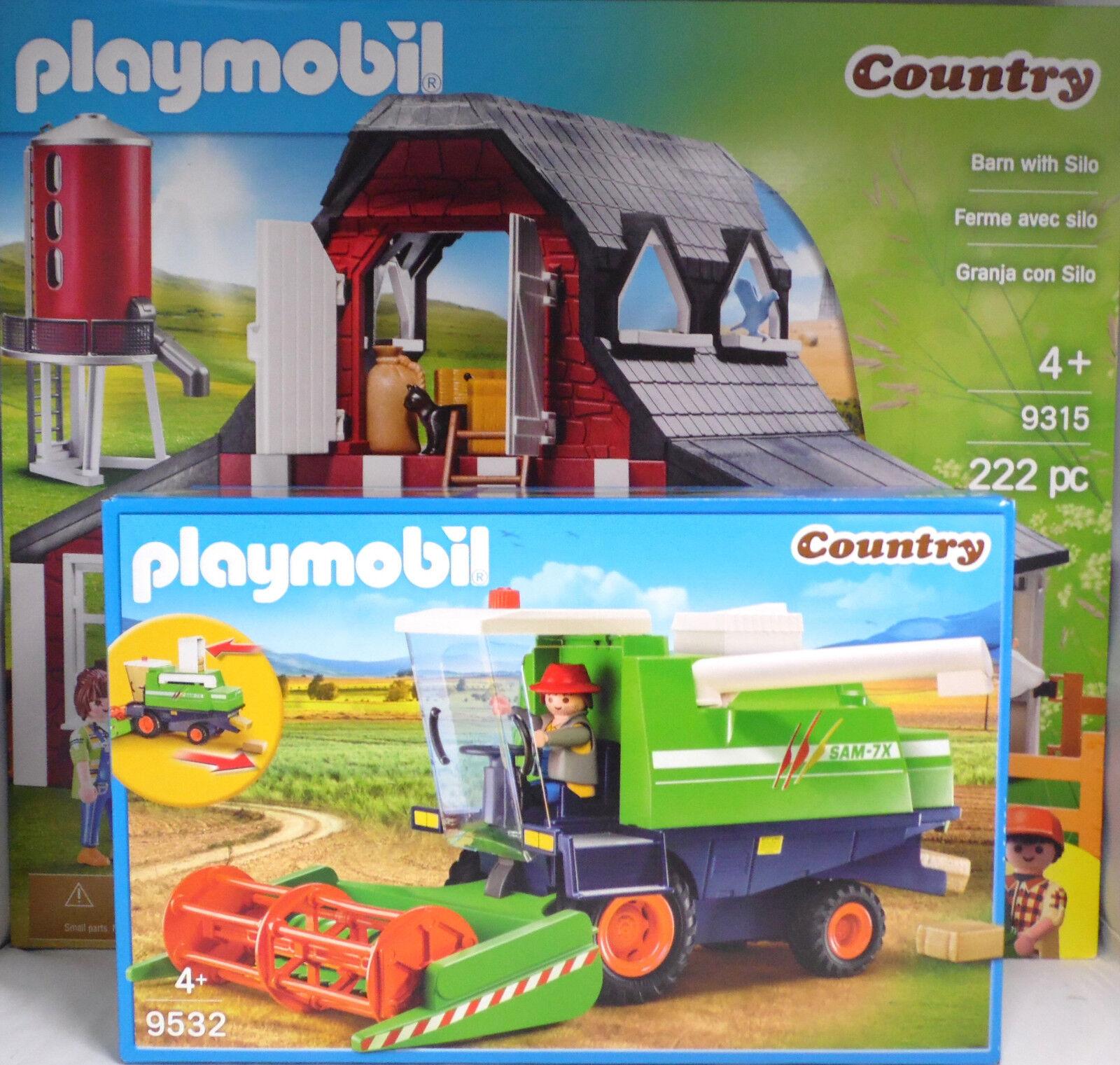 PLAYMOBIL 9315 Bauernhof Silo Pferd Kuh Hühner 9532 Mähdrescher Strohballen NEU