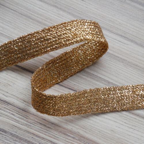 """approx 1//4/"""" GOLD FLAT LUREX BRAID 6 MM WIDE GLITZY SPARKLY BRAID"""