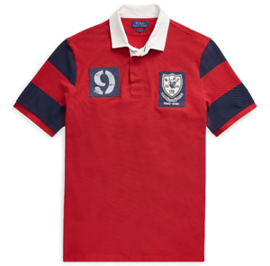 Mens-Polo-Ralph-Lauren-Classic-Fit-Mesh-Rugby-Patchwork-Shirt-Red-Sizes-L-XL