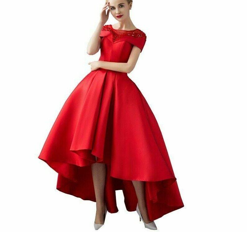Robe de soirée robe de soirée asymétrique à manches courtes appliques cristal nouveau design