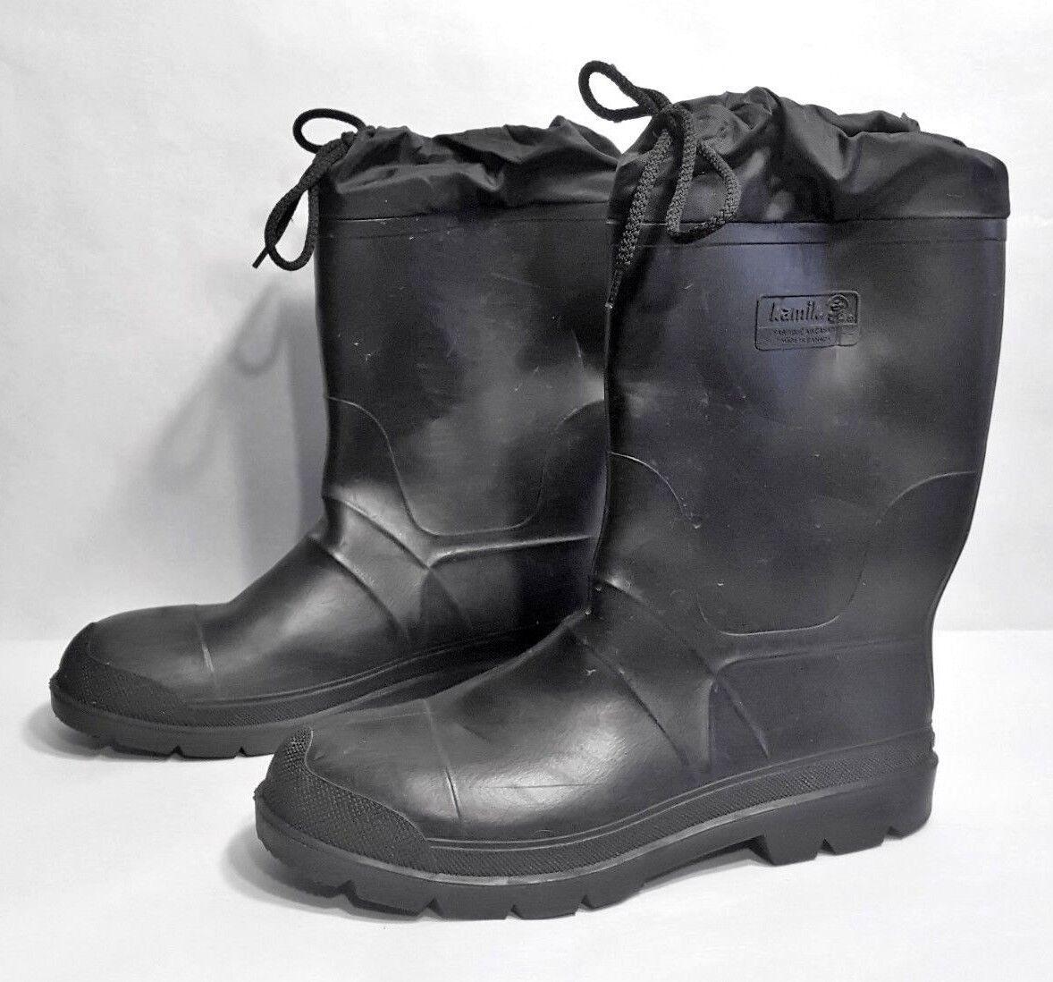 Excelente condición usada para hombres Kamik Alto Impermeable aisladas Invierno botas De Nieve Negro