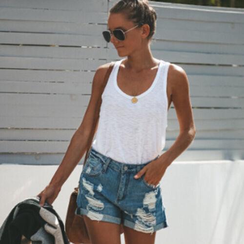 Women Girl High Waist Distressed Ripped Denim Jeans Shorts Flower Lace Hot Pants