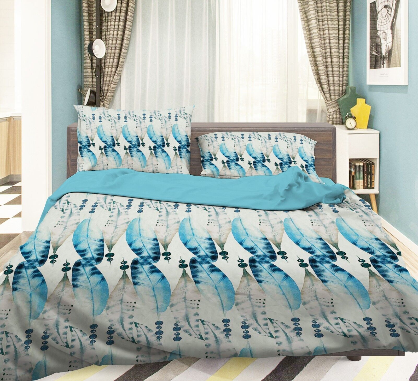 3D Blau Stripe 26 Bed Pillowcases Quilt Duvet Single Queen King US Lemon