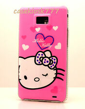 for samsung galaxy s2 i9100 and i777 hello kitty case pink w/ heartsii S II