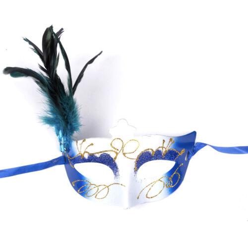 "Women/'s Girl/'s Deluxe Masquerade Maschera Con Glitter /& Feather /""FEDERICA/"" Blu"