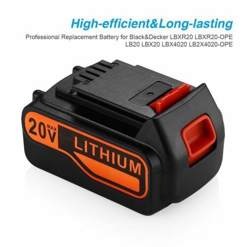 4X 5,0Ah 18V Li-ion Akku für Black /& Decker BL1518 BL2018 LBXR20 LB2X4020 BL3018