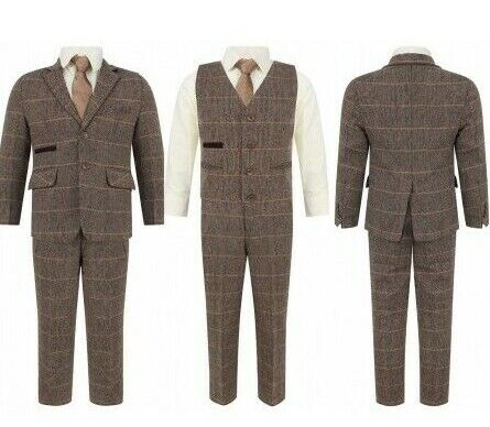 BRAND NEW BOYS FORMAL 5PIECE SUIT BOY PROM WEDDING SUIT IN BROWN  AGES 1 TO 15