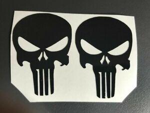 2 Sticker Matte Black Punisher Motorcycle Helmet Scooter Quad Bicycle