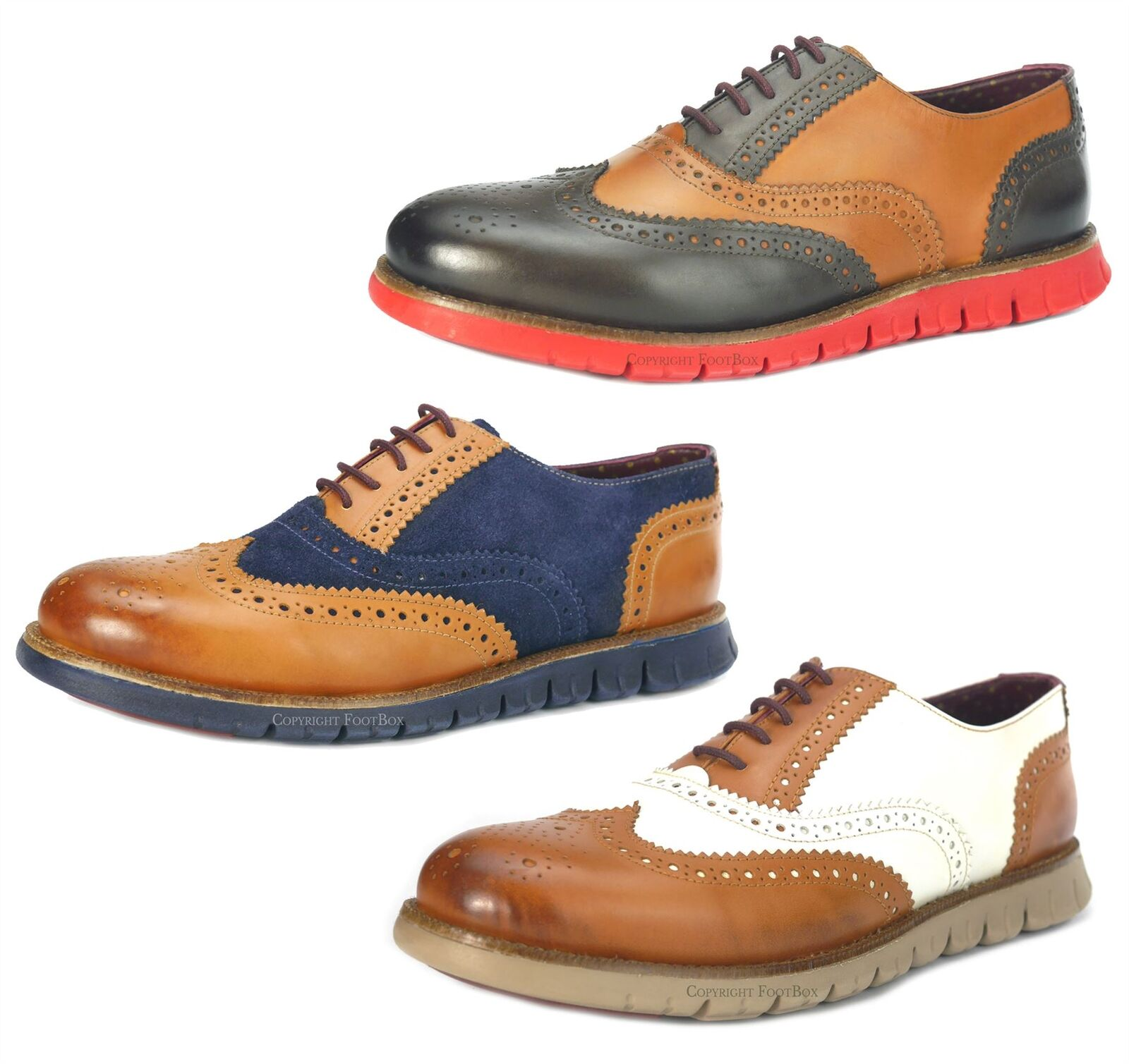 London Brogues Gatz Oxford Leather Lightweight Flexible Mens Brogue schuhe