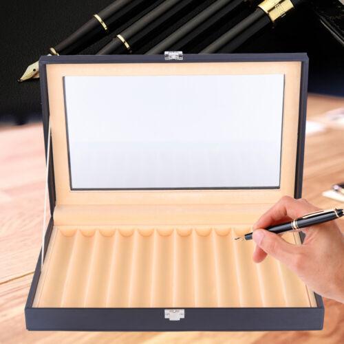12 Fountain Pen Display Case Holder Organizer Storage Box Case Transparent Top
