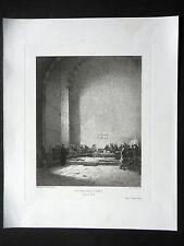 GRAVURE ANCIENNE 19e - EAU FORTE - UN TRIBUNAL A DAMAS - PAR HENRIETTE PROWNE