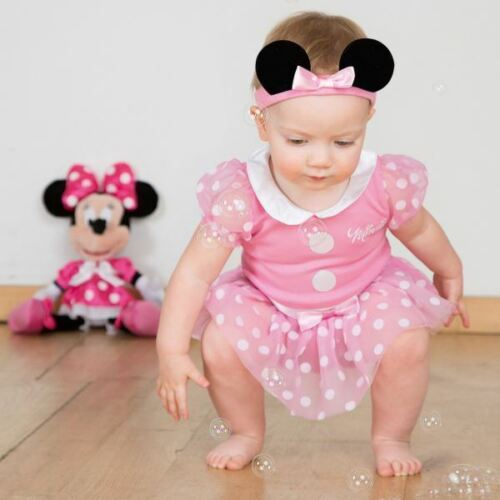 Disney Minnie Mouse Bodysuit /& Headband 6-9 Months Toddler Babies Costume Outfit