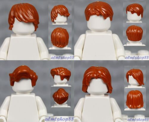 4x Male Hair Lot LEGO Dark Orange Tousled Side Center Part Wavy Wig Boy Town