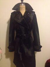 Coach Dark Blue Navy Calf Hair TrenchCoat Style Coat Leather Trim Self Belt Sz 6