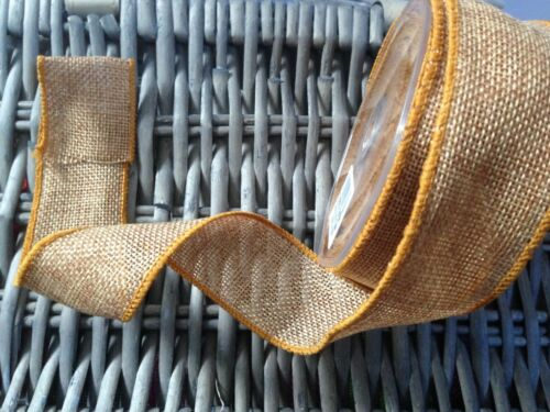 Eleganza COUNTRY BURLAP Hessian Wire Edged Ribbon 38mm 11 shades /& 4 lengths