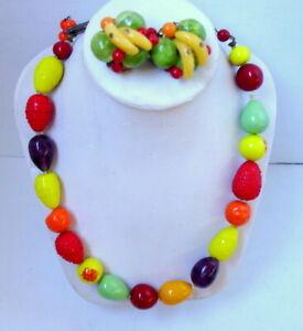 VINTAGE-WEST-GERMANY-Carmen-Miranda-Glass-Fruit-Salad-Necklace-amp-Earring-SET