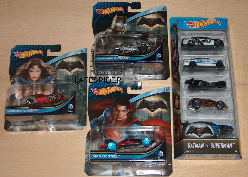 8x Batman v Superman Wonder Woman Hot Wheels DC Comics Dawn Of Justice Job Lot