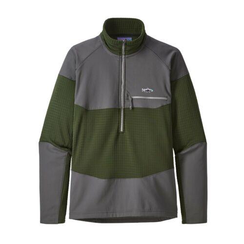 Patagonia MEN/'S LONG-SLEEVED r1 ® Fitz Roy 1//4-zip Pile-Nomad Green-XL