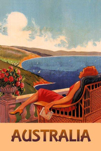 Australia Lady Beach Travel Vintage Poster Repo FREE S//H in USA