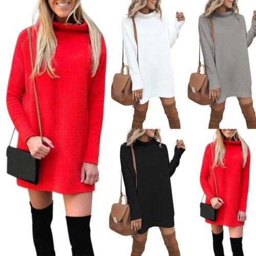 Women Fashion Winter Warm Dress Pullovers Round Collar Solid Color Mini Dresses