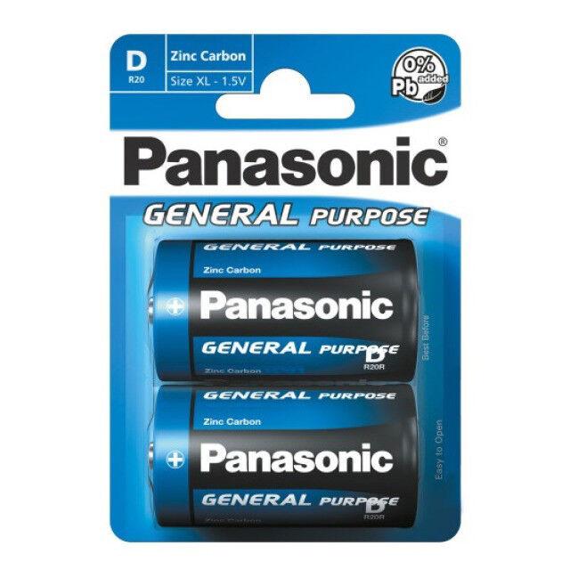 24x Panasonic Batterien General Purpose R20 D Mono blue 1,5V MN1300 Zink-Kohle