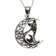 Sterling Silver 925 Cat Moon Pentagram Star Pendant Necklace Lisa Parker
