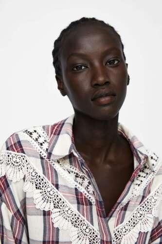 ZARA New Plaid Button Down Shirt With Lace Trim Sizes S; M; L