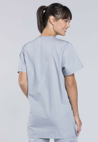 Cherokee Workwear Originals Unisex V-Neck Top 4876T GRYW Grey Free Shipping