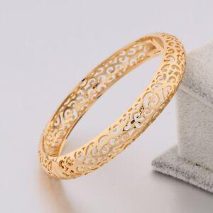 New-18K-Multi-Tone-Gold-Cuff-Bracelet-Shining-White-Sapphire-Charms-Women-Bangle