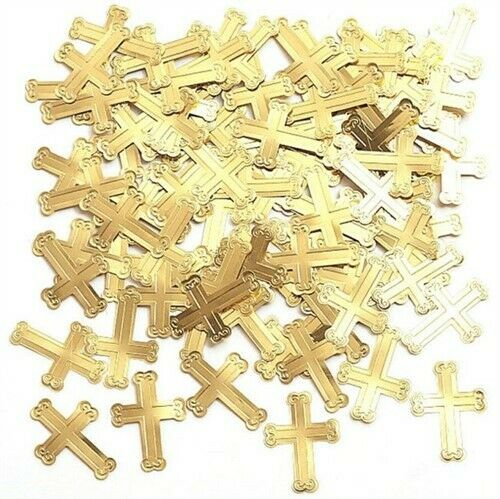 Gold Embossed Crosses Confetti Decorations Religious Party Supplies Decor