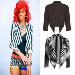 Women Ladies Casual Work Plain Stripe Cropped Waterfall Coat Short Jacket Blazer