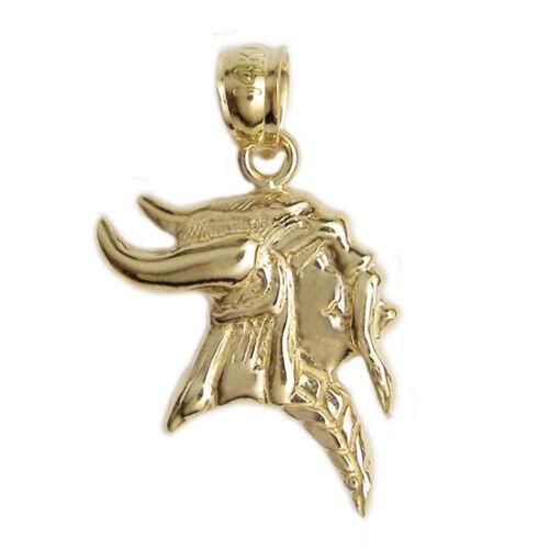 New 14k Yellow Gold Viking Warrior Pendant