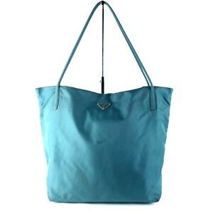 faa8082bb358 Authentic PRADA Milano Aqua Blue Nylon Tote Shoulder Bag Purse Italy ...