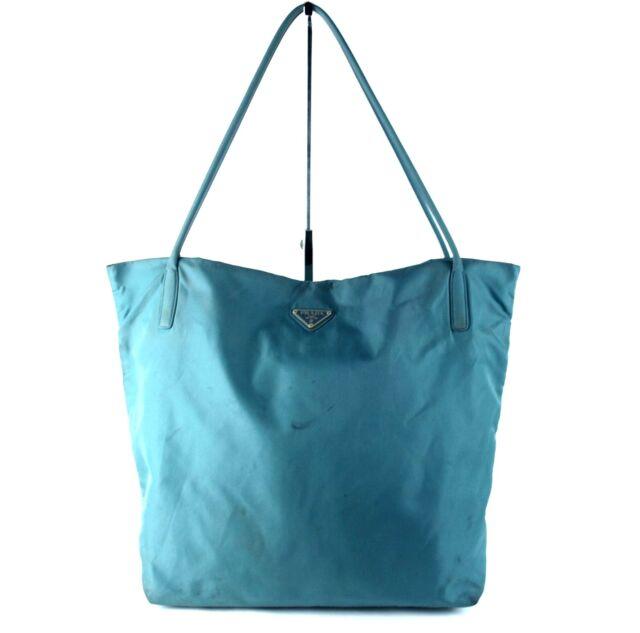 6c8220541c73 Authentic PRADA Milano Aqua Blue Nylon Tote Shoulder Bag Purse Italy