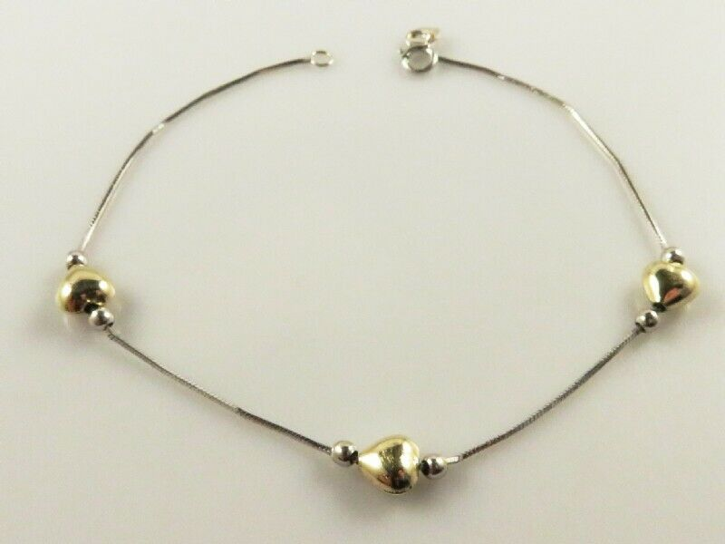 BEAUTIFUL SOLID 14K YELLOW WHITE gold STATION HEARTS & BEADS CHAIN BRACELET 7