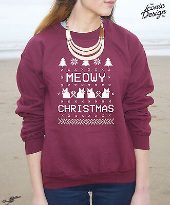 Meowy Christmas Jumper Sweater Top Winter Merry Xmas Cat Gift Crazy Lady Kitten
