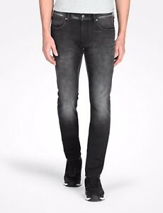 ARMANI-EXCHANGE-AUTHENTIC-BLACK-WASHED-FLEECE-SLIM-FIT-STRETCH-JEANS-NWT