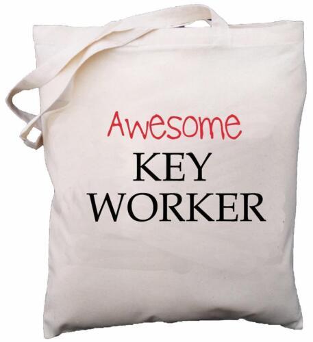Natural Cotton Shoulder Bag Gift Awesome Key Worker
