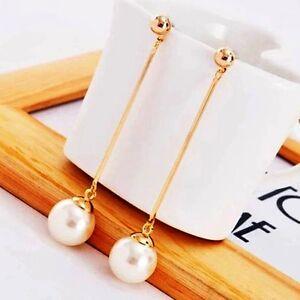 Long-Created-Pearl-Drop-Bar-Dangle-Earrings-Hanging-14k-Yellow-Gold-over-Base