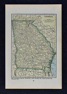 1927 Hammond Map Georgia Atlanta Athens Savannah Macon Columbus Rome